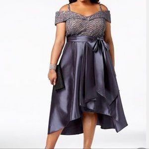 macys sequin cold shoulder silver satin dress